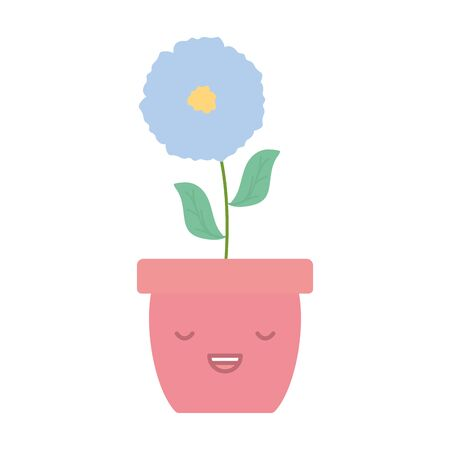garden flower in pot kawaii character