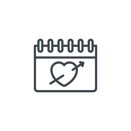 calendar reminder heart icon line design Banco de Imagens - 132119469