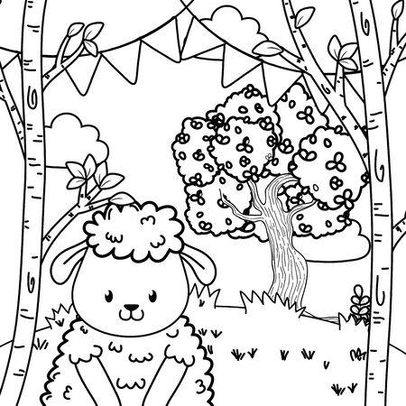cute adorable animal sheep birthday party outdoor scene festive cartoon vector illustration graphic design Stock Vector - 132118395