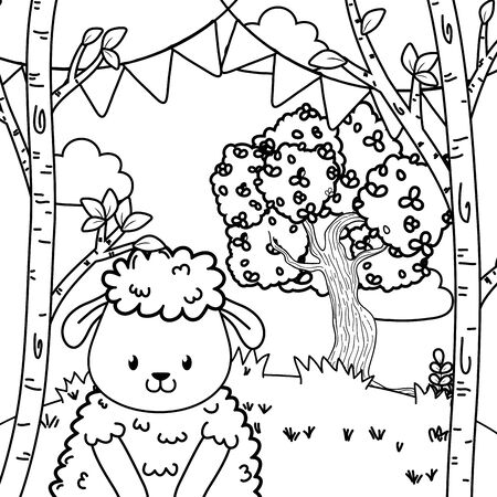 cute adorable animal sheep birthday party outdoor scene festive cartoon vector illustration graphic design