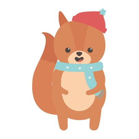 cute squirrel with hat and scarf merry christmas
