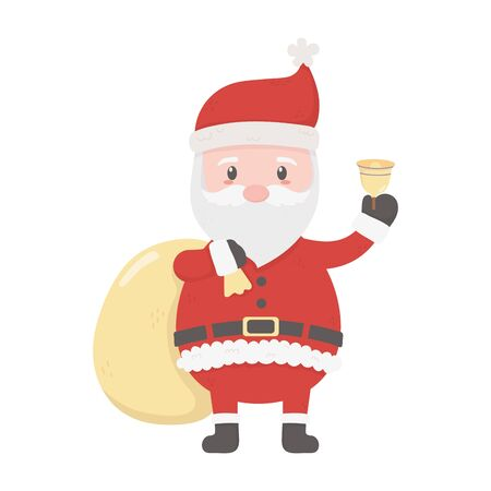 santa with bell and bag gifts celebration merry christmas