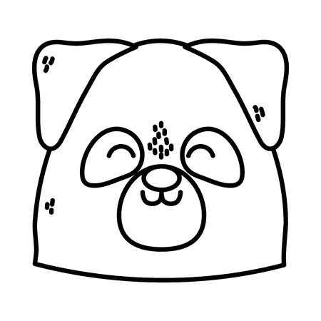 cute dog head close eyes on white background thick line