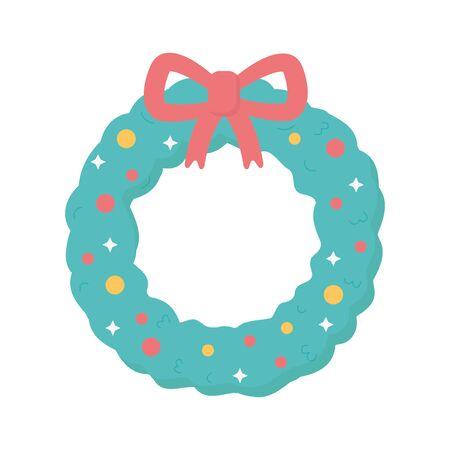 garland ribbon lights snow merry christmas Ilustração