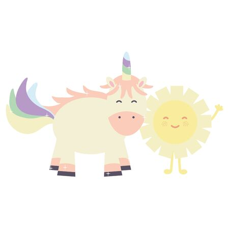 cute adorable unicorn with sun fairy characters