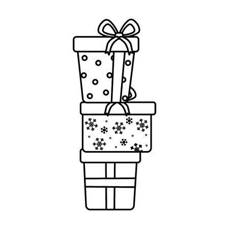 stacked gift boxes celebration merry christmas thick line