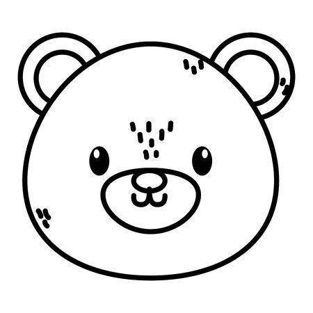 cute bear head character cartoon thick line
