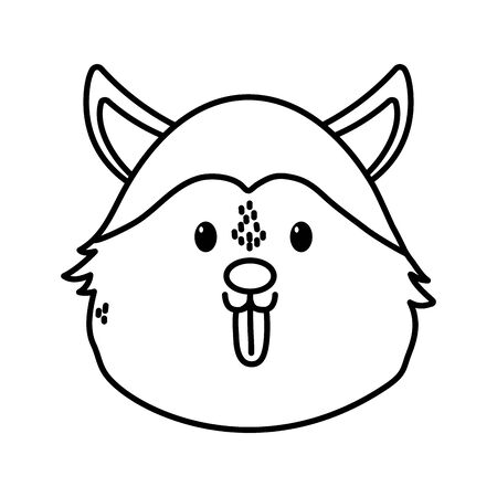 cute dog siberian head on white background thick line
