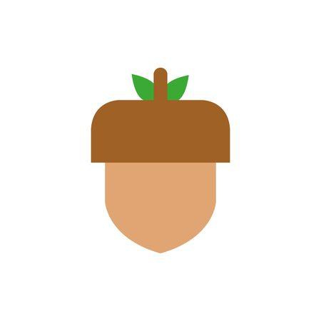 Isolated acorn icon flat vector design