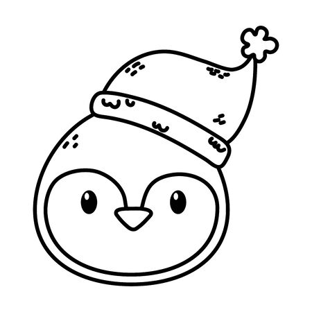 penguin face with hat celebration merry christmas thick line