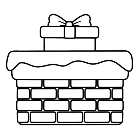 chimney with gift and snow decoration merry christmas line style Illustration