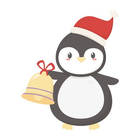cute penguin with hat and bell celebration merry christmas vector illustration