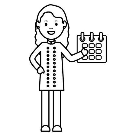 young female waiter avatar character vector illustration design
