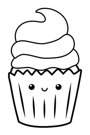 Cupcake dessert cartoon design vector illustration Ilustração