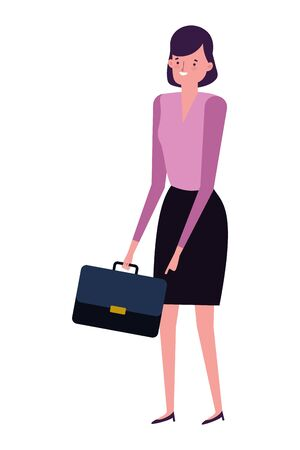 Businesswoman with suitcase design, Woman business management corporate job occupation and worker theme Vector illustration Иллюстрация