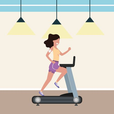 fitness exercise woman running over treadmill workout healthy fit lifestyle gym scene cartoon vector illustration graphic design Ilustracja