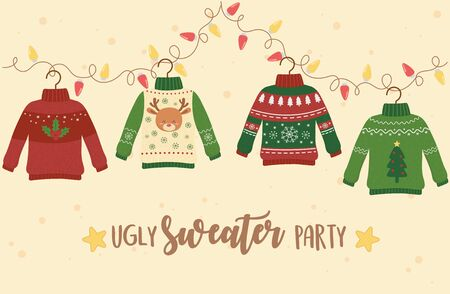 christmas ugly sweater party decoration deer snowflake tree lights Ilustração