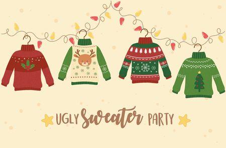 Weihnachten hässliche Pullover Partydekoration Hirsch Schneeflocke Baum Lichter Vektorgrafik