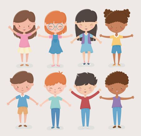 happy childrens day differents girls and boys open arms vector illustration Vector Illustration