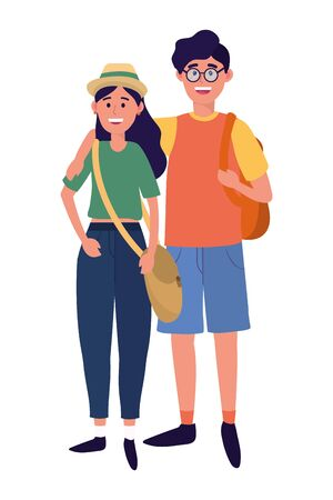 young people friends couple enjoying cartoon vector illustration graphic design