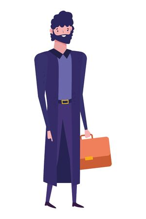 Businessman with suitcase design, Man business management corporate job occupation and worker theme Vector illustration Иллюстрация