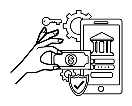 saving money business accounting technology smartphone digital payment with investment elements cartoon vector illustration graphic design Ilustração