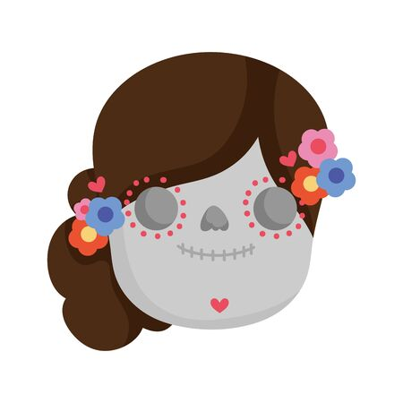 cute skull culture traditional mexico icon vector illustration
