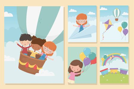 happy childrens day girls and boys funny celebration banners vector illustration