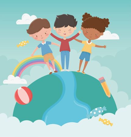 happy childrens day girl and boys standing world with rainbow pencil ball clouds vector illustration Vector Illustration