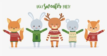 cute animals christmas ugly sweater party set vector illustration Stock Illustratie