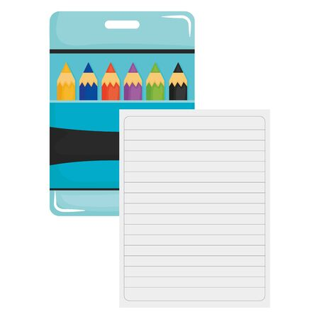 sheet of notebook paper with colors pencils box