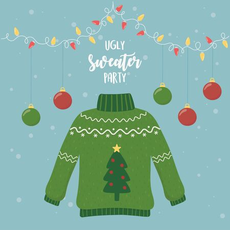 christmas ugly sweater party hanging balls lights vector illustration Illustration