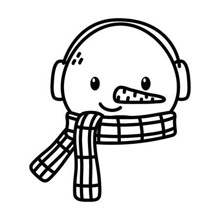 snowman face with scarf earmuffs carrot nose celebration merry christmas vector illustration thick line Illusztráció