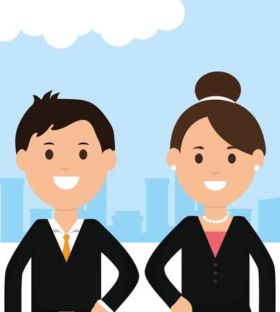 young business couple avatars characters vector illustration design 向量圖像
