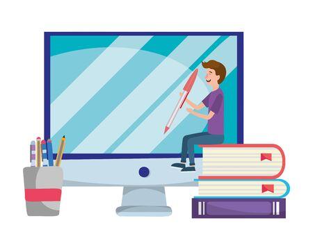 online education little man with desk computer cartoon vector illustration graphic design