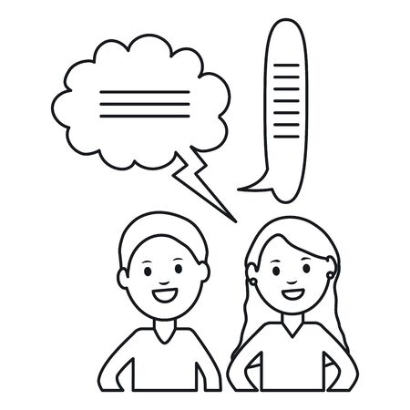 young couple with speech bubbles avatars characters vector illustration design