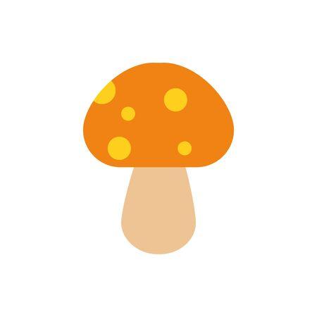 Isolated pointed fungi mushroom flat vector design