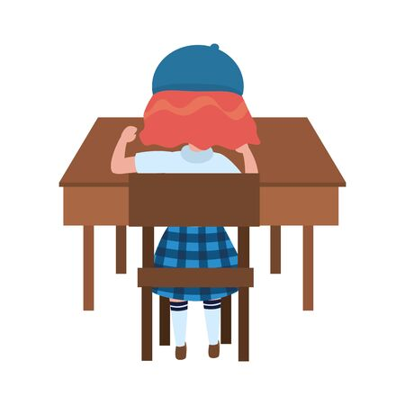 Girl kid in desk design, School education learning knowledge study and class theme Vector illustration 矢量图像