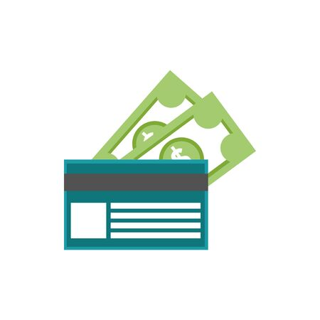 Isolated bills and credit card icon flat vector design