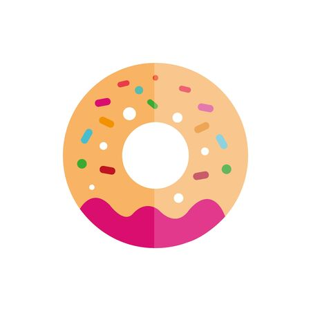 Isolated sweet donut icon flat vector design