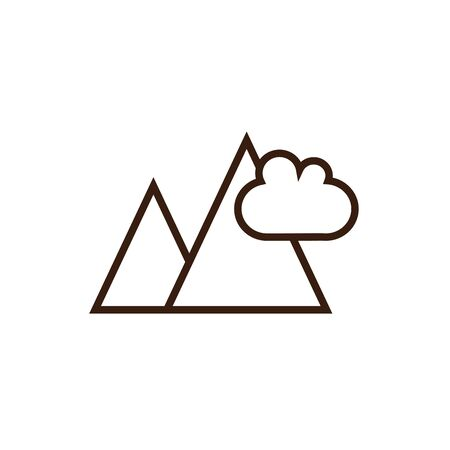 Isolated mountain icon line and fill vector design Çizim