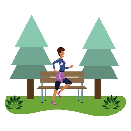 fitness sport train woman running outdoor scene cartoon vector illustration graphic design