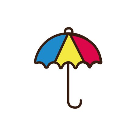 Isolated umbrella line and fill vector design