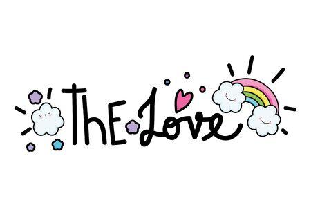 Love word design, Typography message note feeling think and inspiration theme Vector illustration Illusztráció