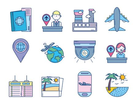 travel aviation transport airport icons Banque d'images - 132559449