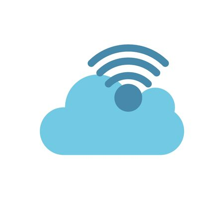 Cloud computing and wifi icon flat vector design