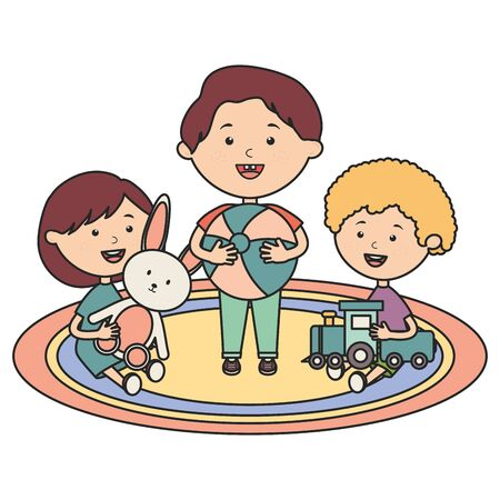 cute little kids group playing with toys characters vector illustration design