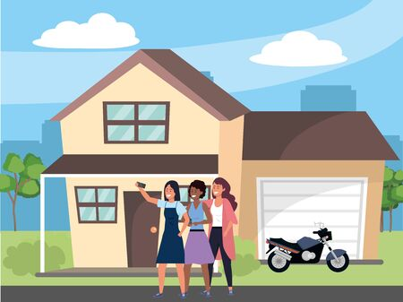 Millennial group using smartphone taking selfie house porch dress afro skirt dyed hair garage motorcycle background vector illustration graphic design