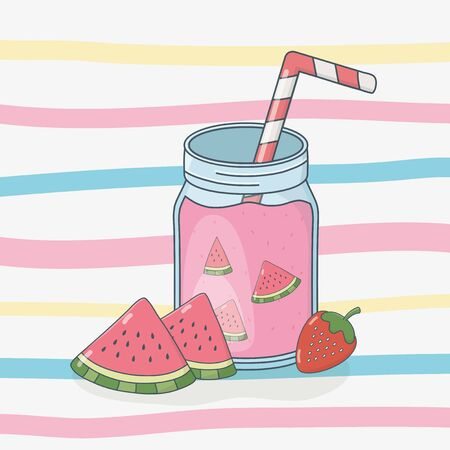 watermelon juice fruit in pot with straw vector illustration design