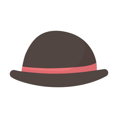 bowler hat with red ribbon icon vector illustration Ilustracja